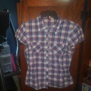 H&M pink, blue & white plaid button up size 10